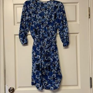 Blue floral mini wrap dress